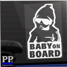 1 x Carlos Baby On Board EXTERNAL Tinted  Car Window Sticker Fun Child Kids White Vinyl Tint Sign